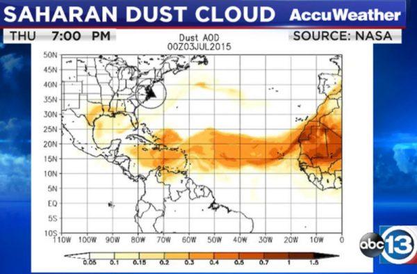 Sahara Desert Dust Brings Haze toTexas
