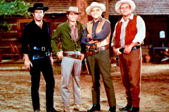 BONANZA (TV) PERNELL ROBERTS, MICHAEL LANDON, LORNE GREENE, DAN BLOCKER BNZ 016